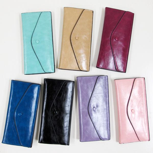 長夾油皮亮面信封式(黑、寶藍、玫紅、粉、紫、杏、綠)
