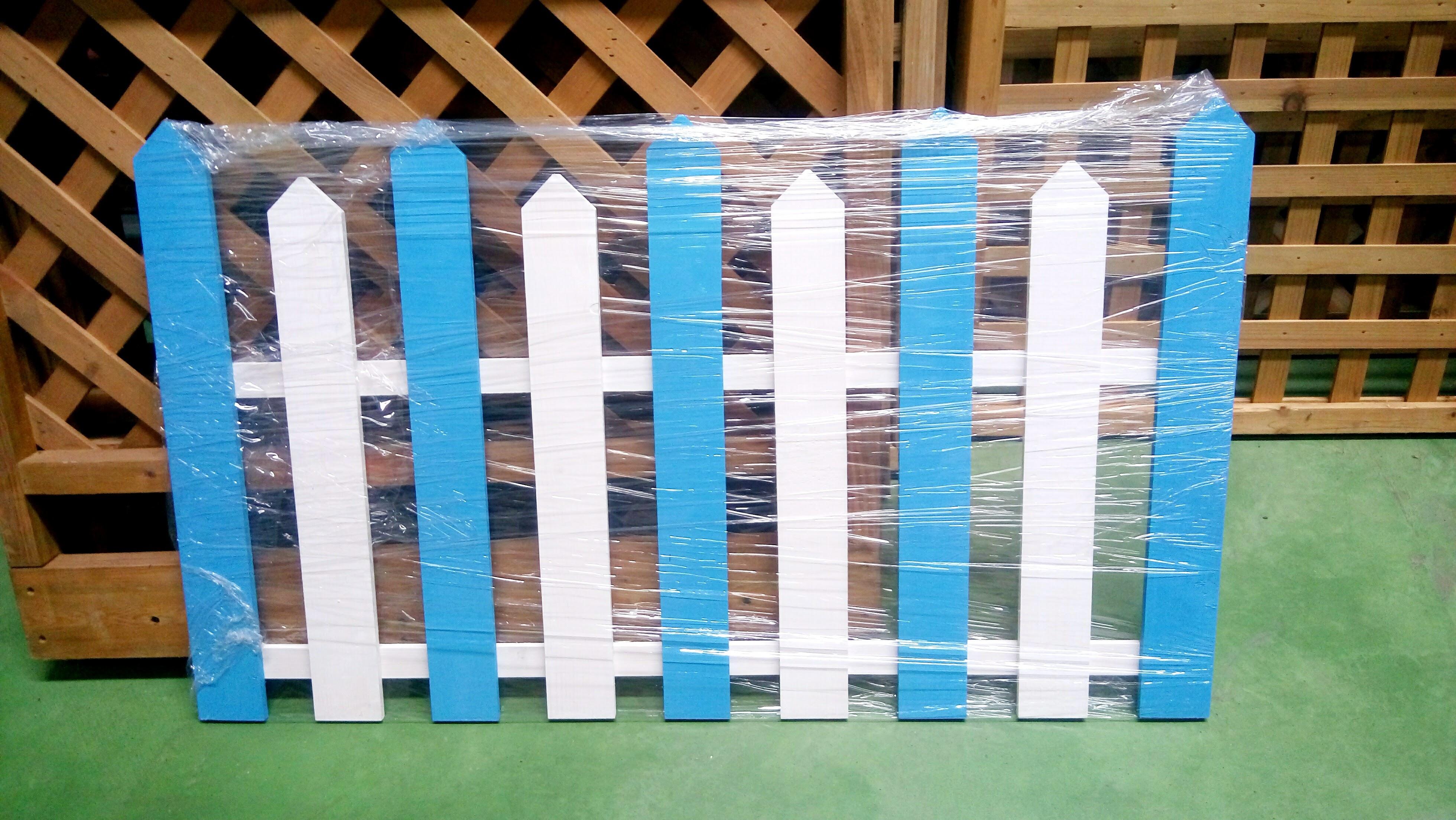 藍白相間色木製柵欄 單片款 F-3  特價85折喔~ 櫥窗設計 造景 開店用 寵物柵欄 兔子柵欄