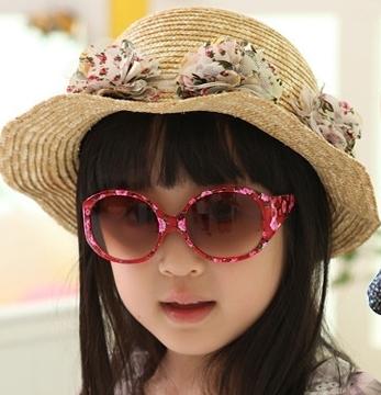 Kocotree◆可愛玫瑰薔薇碎花鏡框兒童太陽眼鏡-紅色