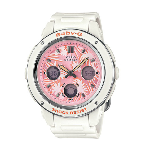 CASIO BABY-G BGA-150F-7A 蜜粉雙顯流行腕錶/粉紅面42.8mm