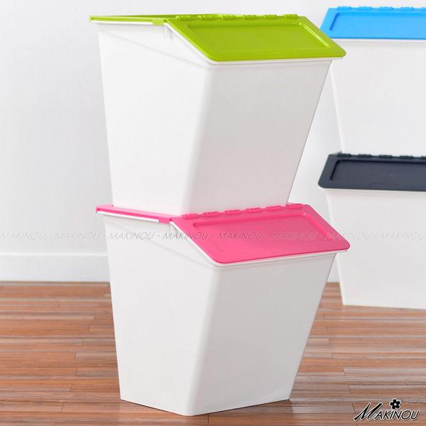 整理箱|日本MAKINOU-斜口可疊收納箱- 038|置物箱塑膠垃圾桶台灣製