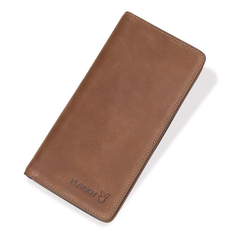 【橘子包舖J110441】PLAYBOY.男磨砂頭層牛皮.長款皮夾.復古真皮錢包包