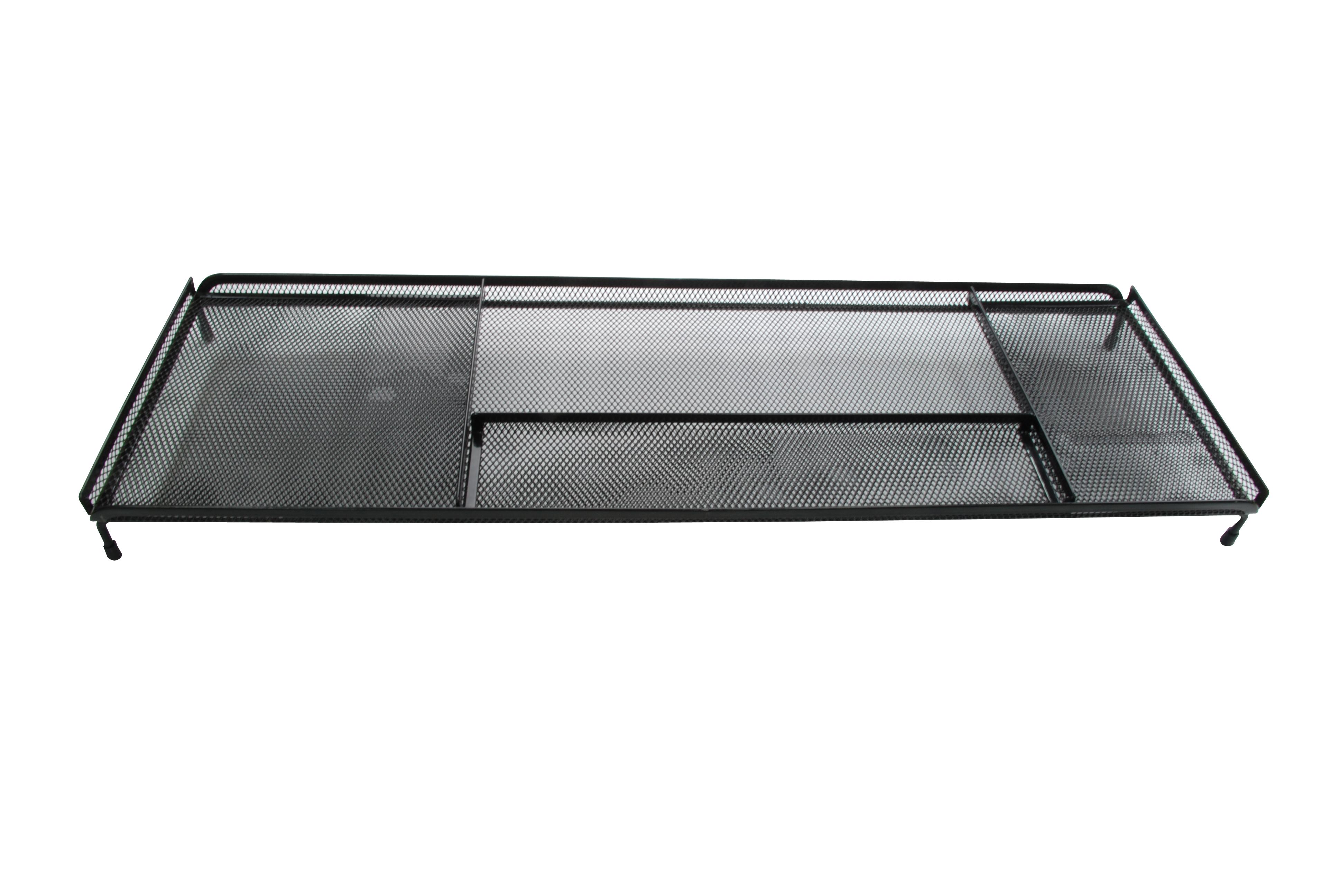 【凱樂絲】電腦桌辦公桌收納架 -4格收納區,可放置手機,筆,POST IT,文具用品 - 黑色網狀設計