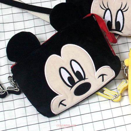 斜背包 正版迪士尼Disney系列大臉圖案觸控手機包收納包 人氣卡通圖案 柒彩年代【NS9】附贈背帶