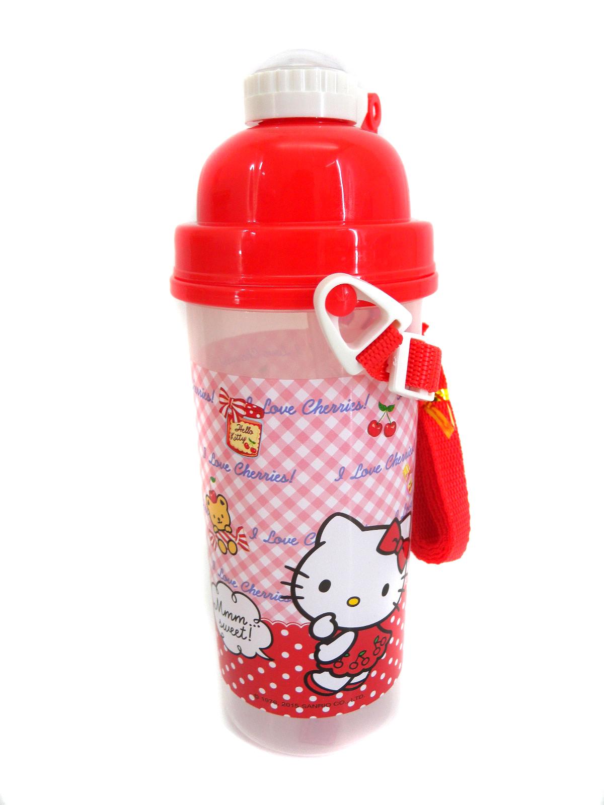 【真愛日本】15091500067 彈跳水壺700cc-櫻桃紅 KITTY 三麗鷗 凱蒂貓 水壺 水瓶 生活居家