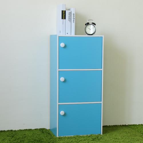 《Hopma》水藍配白三門收納櫃