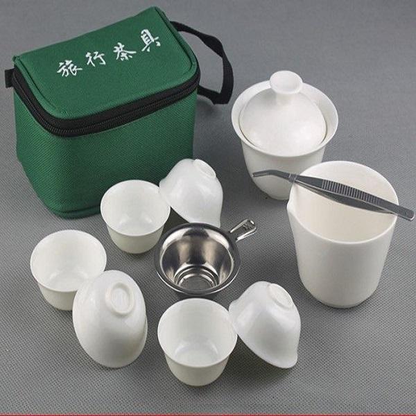 【自在坊】旅行茶具 白瓷茶具組 攜帶吸震包 白瓷 蓋碗 茶杯 茶漏 *自在坊* 開店慶限量30組