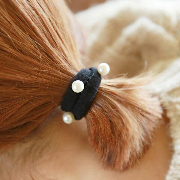 PS Mall 韓版 鉚釘珍珠 粉粉棉花糖 彩色髮圈 彈力髮繩 綁髮 橡皮圈 髮帶【G1900】