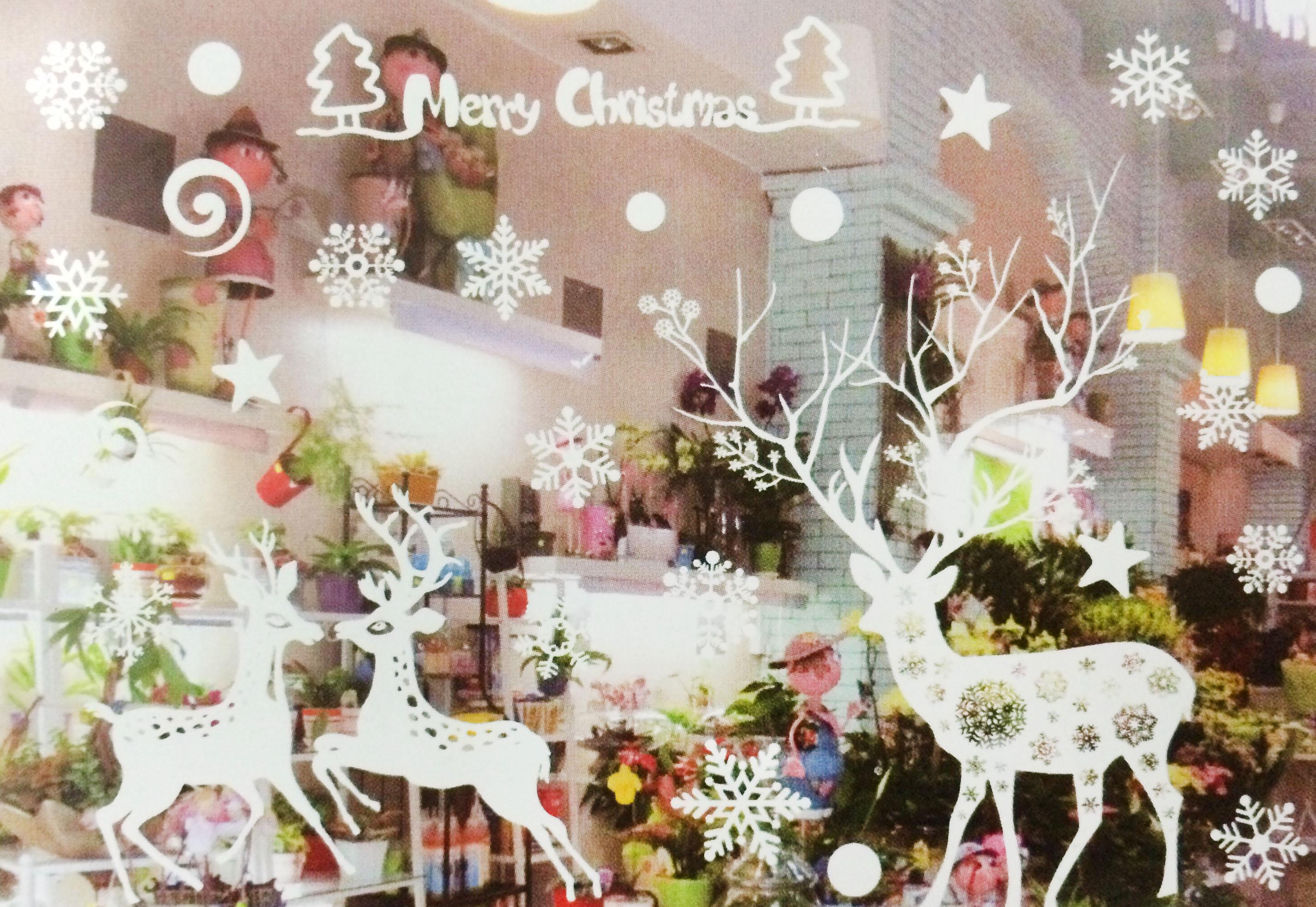 X射線【X150013】麋鹿雪花(白色)靜電窗貼,聖誕節/聖誕擺飾/聖誕佈置/聖誕造景/聖誕裝飾/玻璃貼/牆面佈置/壁貼