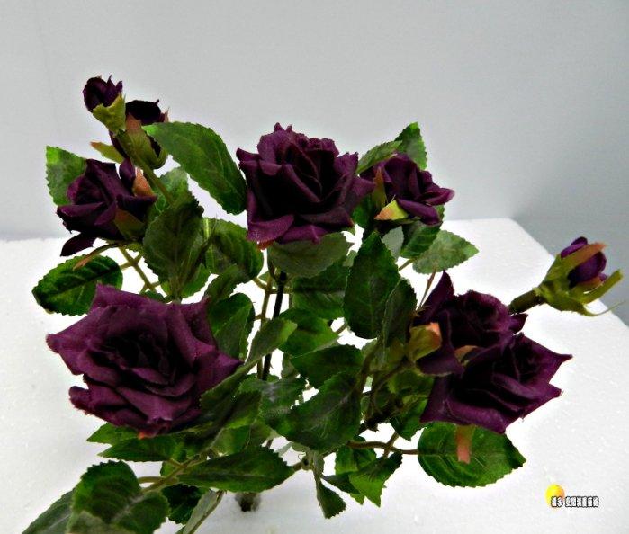 [橘子空間裝置藝術] 深紫色 神奇小型玫瑰花花束☆ 人造花.插花配件.居家.店面.櫥窗.玄關.大廳擺飾.園藝資材.用品☆