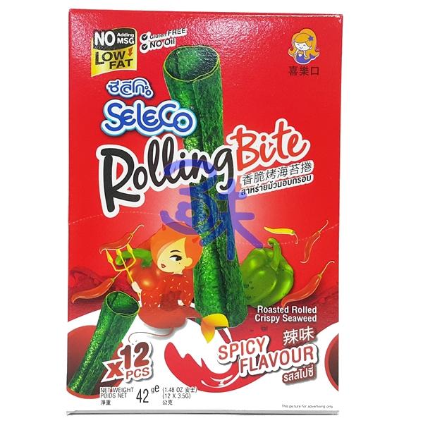 (泰國) Seleco 喜樂口 香脆烤海苔捲 -辣味 1盒42公克(3.5公克*12支) 特價88元 【8852116805244】 (海苔卷/烤海苔捲/喜樂口海苔捲)