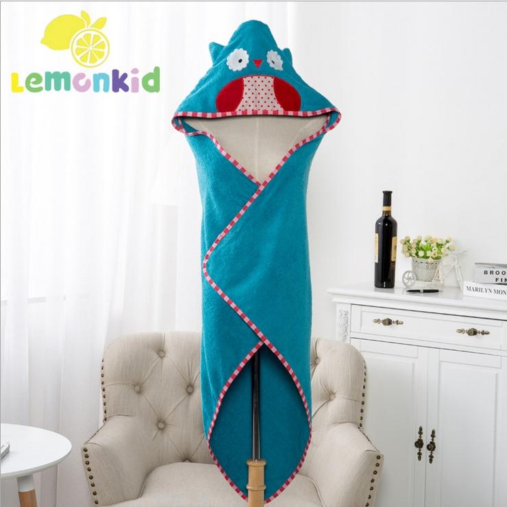 Lemonkid◆可愛卡通造型純棉柔軟吸水寬大蓋毯兒童嬰兒浴巾帶帽毛巾被浴袍90*90cm-藍色貓頭鷹