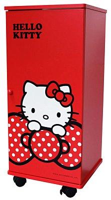【真愛日本】12043000001 蝴蝶結拉門三層滾輪櫃-紅 三麗鷗 Hello Kitty 凱蒂貓 櫃子 鞋櫃 衣櫃