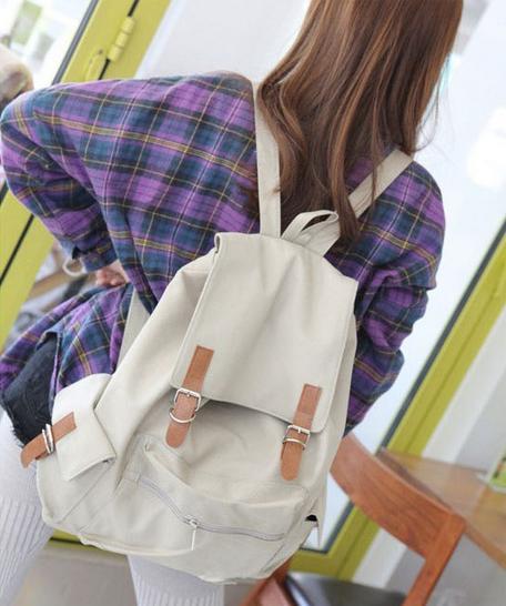 【大容量皮帶扣後背包】 韓版流行後背包 學院風旅行包 書包  時尚玩包