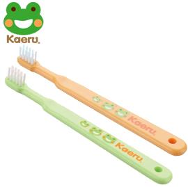 【悅兒樂婦幼用品舘】哈皮蛙 Kaeru 清潔乳牙刷6-18m x1入 (綠/橘)