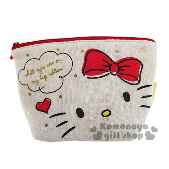 〔小禮堂〕Hello Kitty 棉質空氣化妝包《小.米色.大臉.點點.對話框》