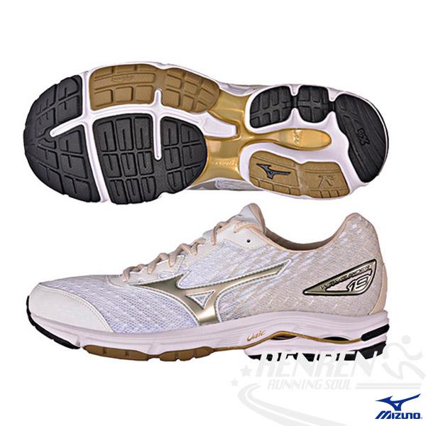 MIZUNO 美津濃 WAVE RIDER 19  男女慢跑鞋 (白*金) 韓國限定款