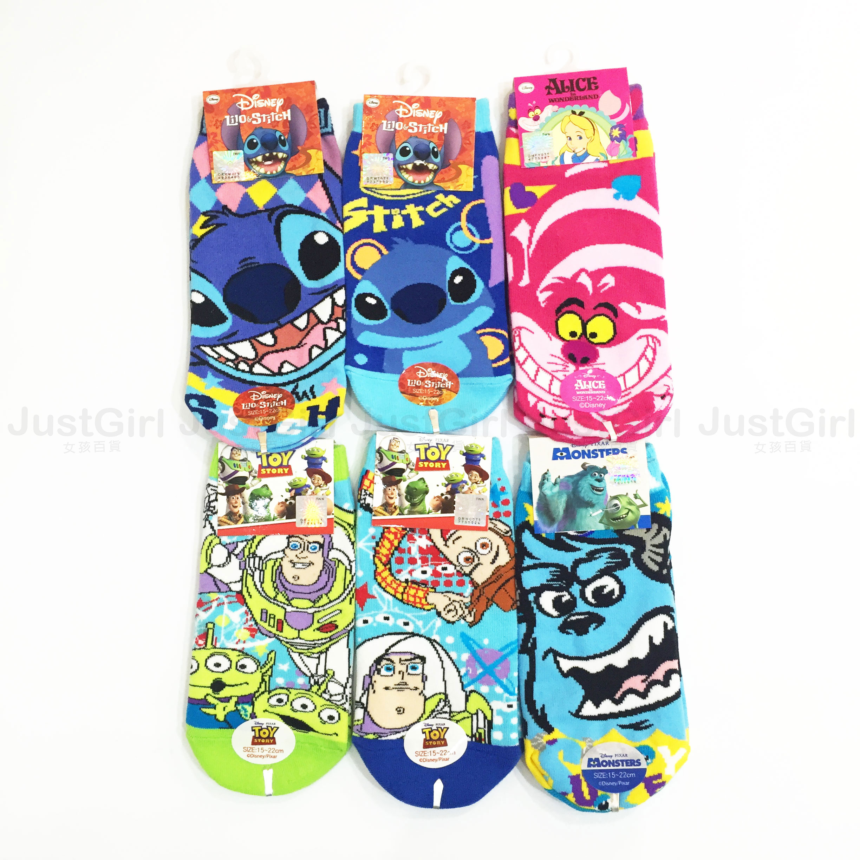 史迪奇 玩具總動員 毛怪 愛麗絲 兒童 襪子 船型襪 短襪 踝襪 造型襪 39元 居家 正版日本授權 JustGirl