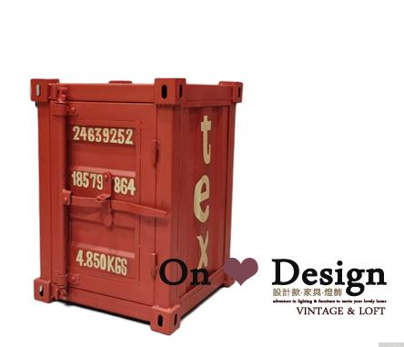 On ♥ Design ❀ LOFT 工業家具 RH風格 貨櫃 集裝箱收納櫃 邊櫃 床頭櫃MINI版-紅
