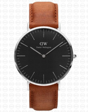 40MM 0132DW 黑錶面 真皮駝色錶帶 瑞典正品代購 Daniel Wellington 男錶手錶腕錶
