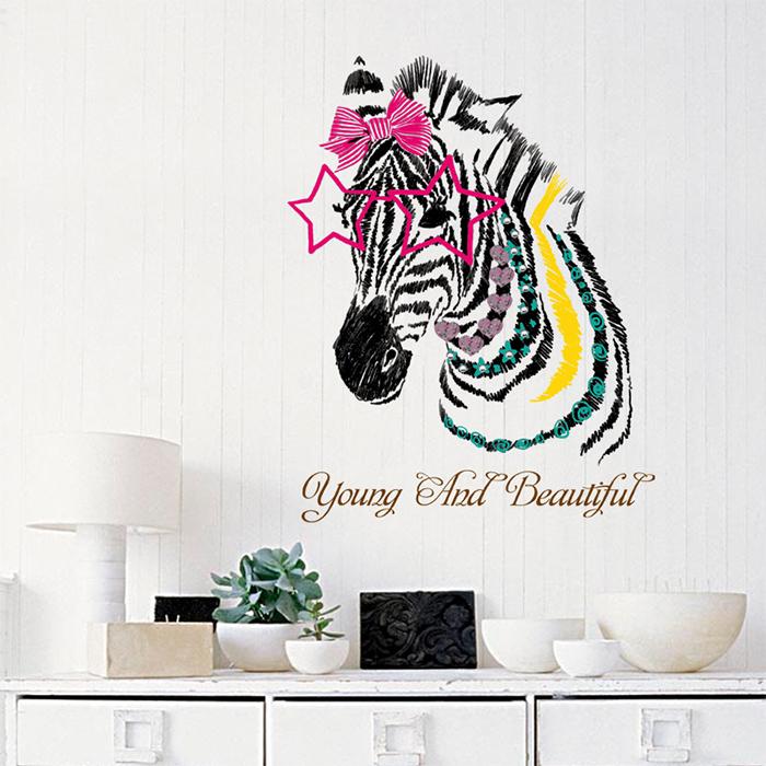 創意無痕壁貼 斑馬 透明壁貼【YV6760】快樂生活網