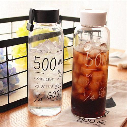 PS Mall 透明玻璃杯英文字母杯超大容量隨身杯500ML 【J704】