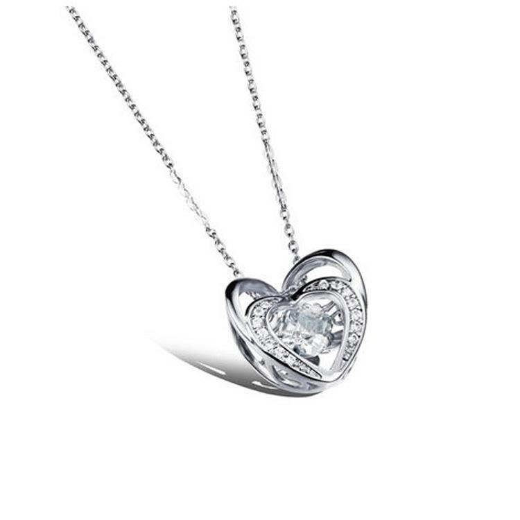 最新款日韓風格立體雙愛心鑲鑽造型鍍白金鍍18K金女款項鍊