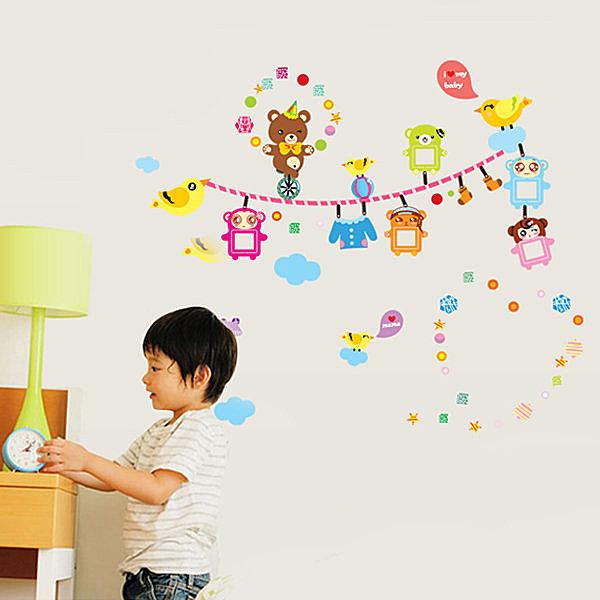 BO雜貨【YV4167】創意可移動壁貼 牆貼 背景貼 時尚組合壁貼 小熊兒童相片框