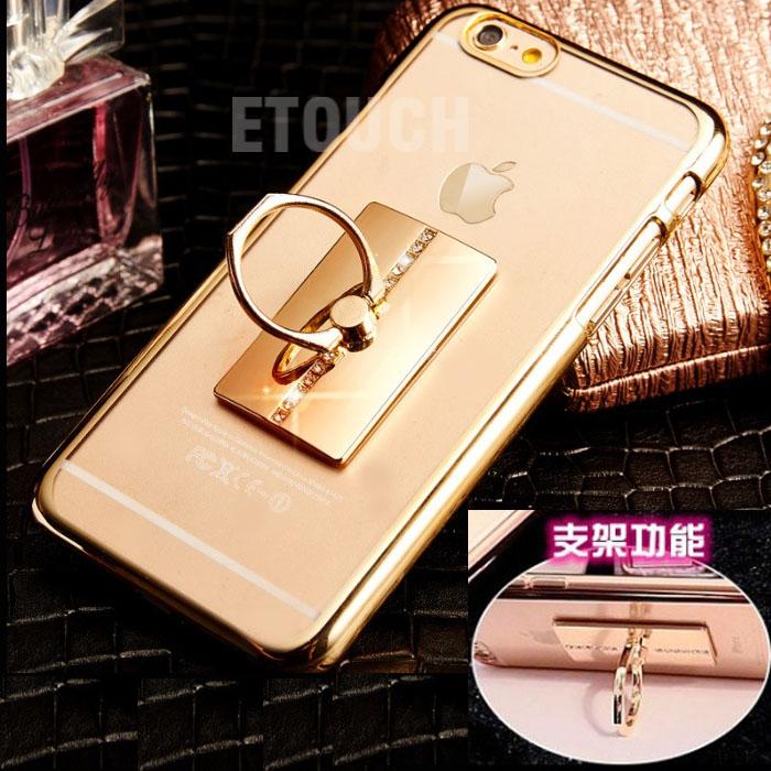 【純米小舖】iPhone 6s/6 & iPhone 6s/6 Plus 手機殼保護殼ETOUCH電鍍指環扣支架軟殼(5.5吋i6s plus/i6plus銀色)~優惠免運