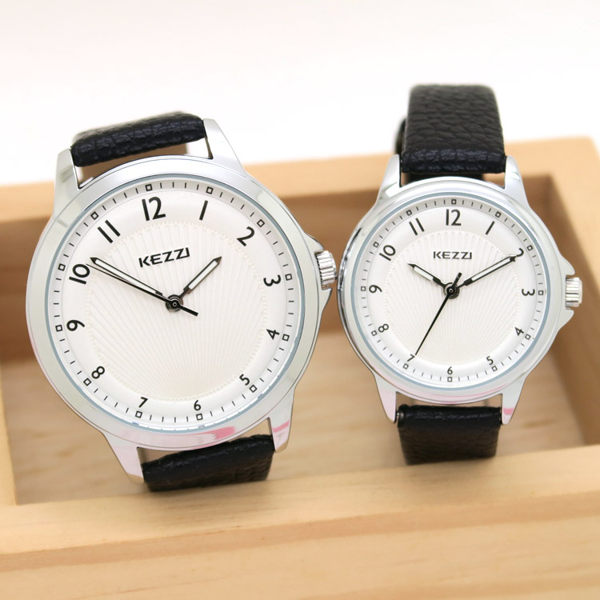 《好時光》香港品牌 KEZZI  清晰數字 質感面盤  時尚女錶 皮錶帶 男錶 對錶-單支價格
