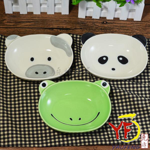 ★堯峰陶瓷★日本美濃燒 動物造型 橢圓盤 深碟 青蛙 熊貓 牛