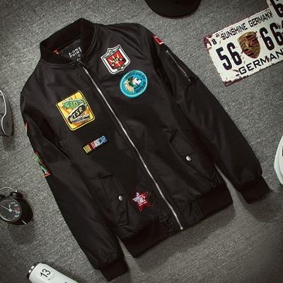 空軍夾克 MA1外套(單件)-純色飛機徽章直筒男女外套3色72av26【獨家進口】【米蘭精品】