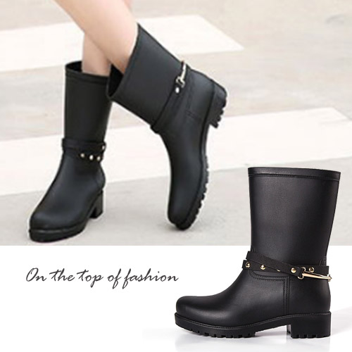 雨靴-時尚寬口金屬飾中筒雨鞋-偏大
