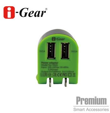 i-Gear 雙USB旅充變壓器 3.1A  黑綠