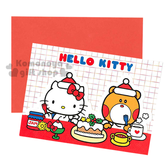 〔小禮堂〕Hello Kitty 造型三折聖誕卡片《S.紅白.蛋糕.茶.小熊.格紋》附信封
