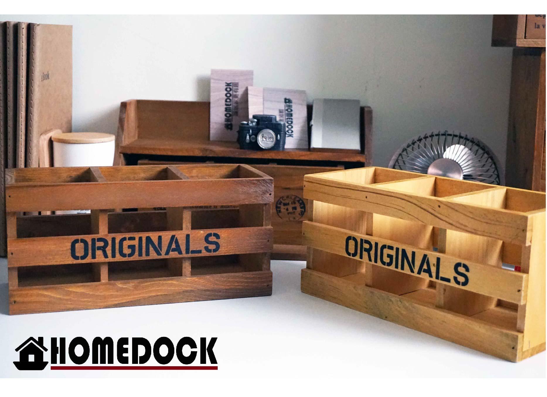 HOMEDOCK-長方書桌收納盒 /木櫃/置物櫃/Zakka/雜貨/原木製/層格櫃/抽屜/雙層