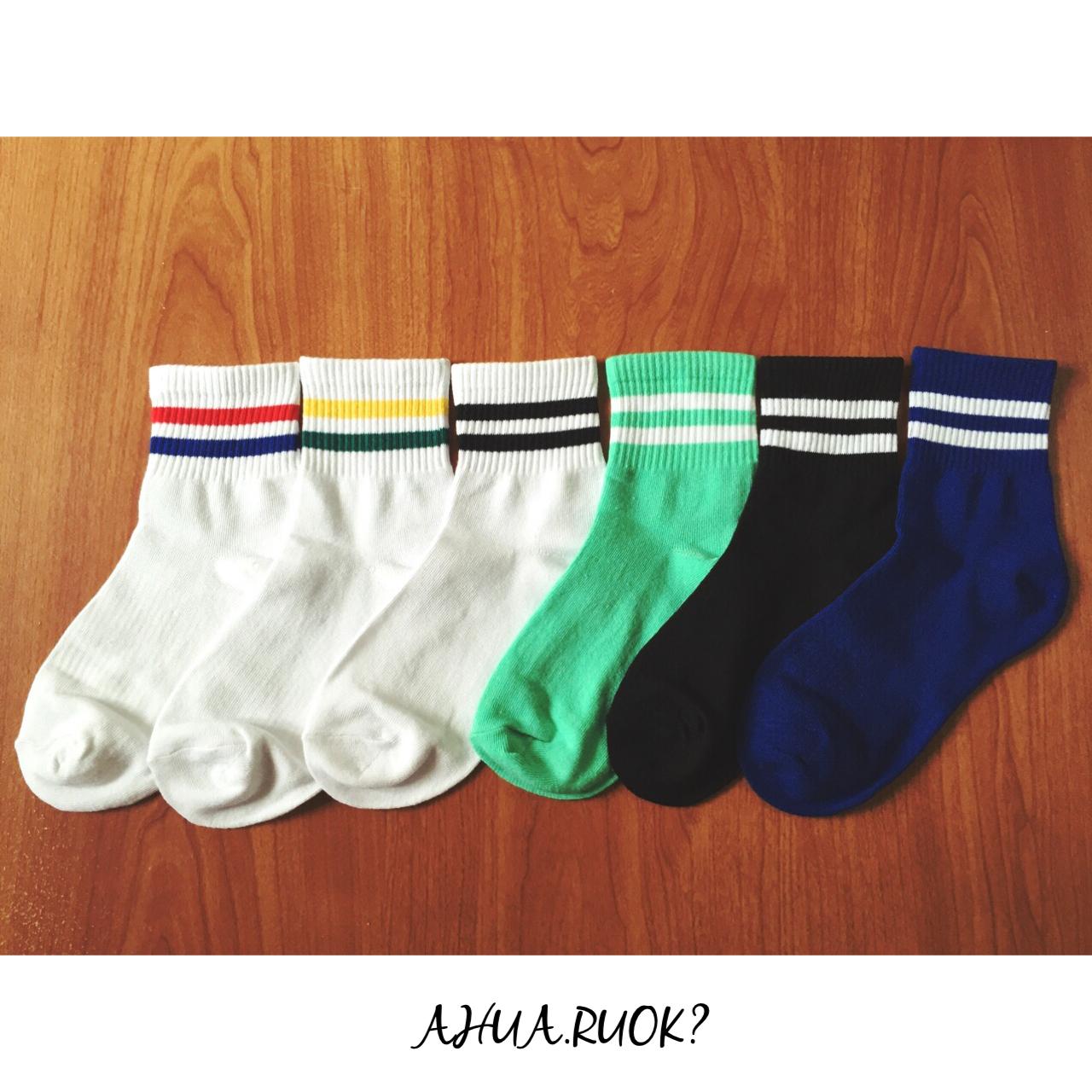 【開幕促銷】韓版復古雙條紋運動風中筒襪