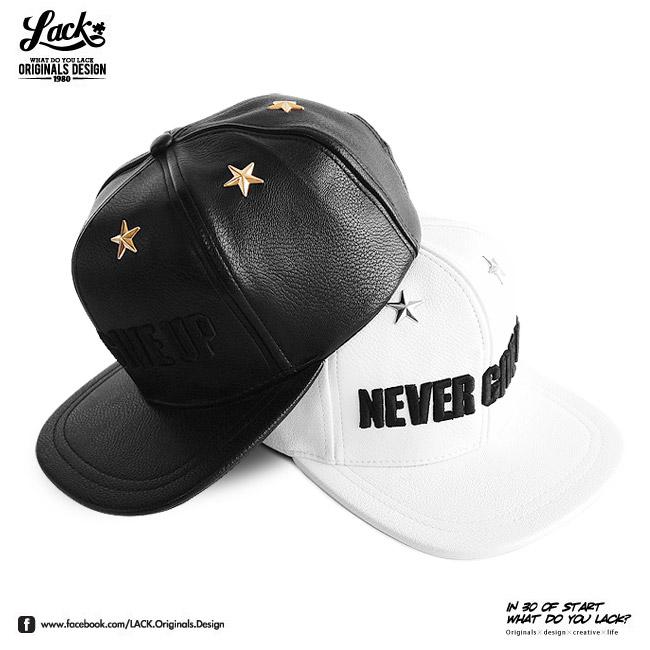 ★特製版★ LACK LEATHER NEVER GIVE UP RETRO - 全皮帽 皮革 星星 永不放棄 張景嵐 陽岱鋼 COOL報 棒球帽 三色
