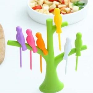 美麗大街【BF299E25】可愛樹梢支架小鳥水果叉套裝時尚塑料小鳥水果叉