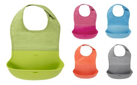 《★美國OXO》Roll-Up Bib可捲折圍兜 綠/藍/灰/橘/桃紅 美國代購 溫媽媽