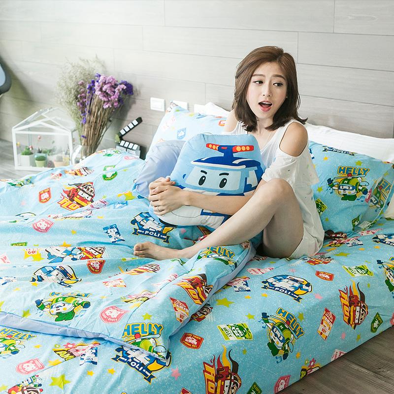 新品!床包 / 雙人【波力救援小英雄-藍】含兩件枕套,夏季涼感磨毛多工法處理,超人氣卡通,戀家小舖台灣製