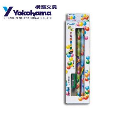 YOKOHAMA 日本橫濱 彩虹三角練習鉛筆3入附筆削+橡皮P-45 /盒