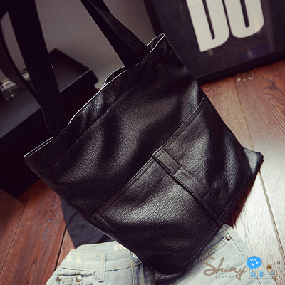 【P053】shiny藍格子-簡約休閒.新款單肩包雙兜水洗皮大包手提包