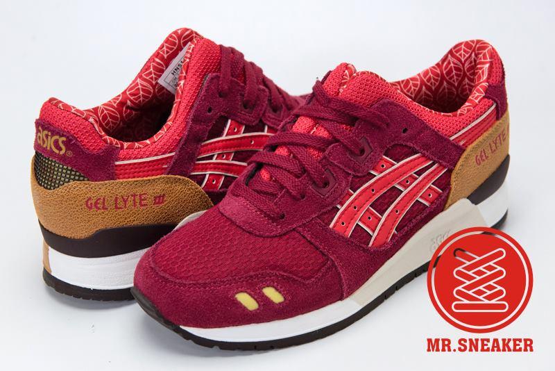 ☆Mr.Sneaker☆ ASICS Tiger GEL-LYTE III 復古跑鞋 分離式鞋舌 緩震中底 女款 紅色