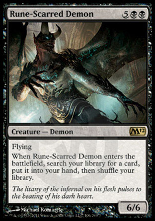 【冰河森林】MTG 魔法風雲會 核心系列2012 M12 NO. 106 英文版 符痕惡魔 Rune-Scarred Demon R卡 (金卡稀有 黑 生物 惡魔 )