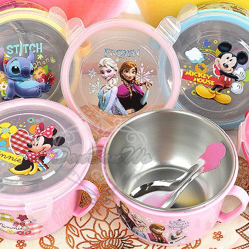 迪士尼冰雪奇緣米奇米妮史迪奇不銹鋼碗隔熱碗雙耳扣環附湯匙264359海度