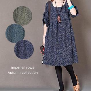 滿700再折$100 [木棉花2] 森女復古棉布做舊寬鬆碎花長袖洋裝(3色,S-2XL) - 御聖願