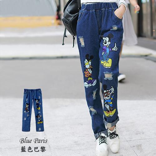 牛仔褲 - 破壞感奇奇男友褲【23249】-藍色巴黎-現貨