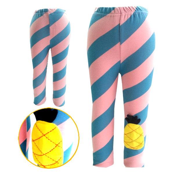 【班比納精品童裝】俏皮左下鳳梨鈄條紋內搭褲-粉【BO150303013】