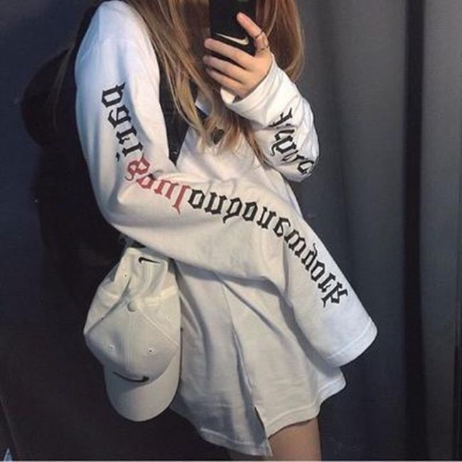 50%OFF【G019471C】秋季衛衣女韓版潮學生寬鬆套頭情侶外套超長袖T恤大碼